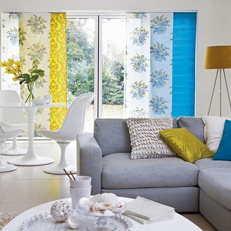 Estampa floral flores na sua casa papo de design Gray blue yellow living room