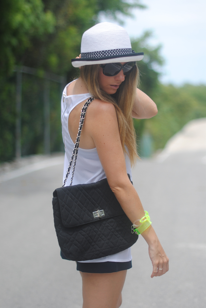 See outfit ideas at my fashion blog: black and white + fluor.
