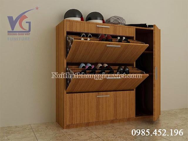 Tủ giày đa năng gỗ veneer xoan đào