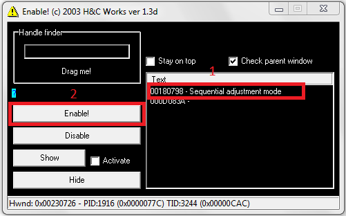 imagen con activador de adjustment programada