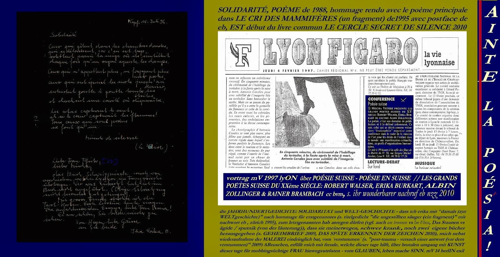 SOLIDARITÄT von erika burkart LYON FIGARO vortrag mischa vetere 1997 lyON bvm LA RÉVOLUTION MENTALE