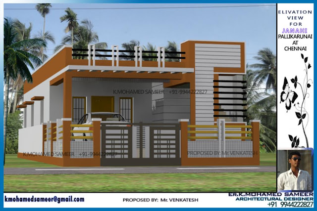 1200 sq ft Tamilnadu style 2 Bedroom home elevation design