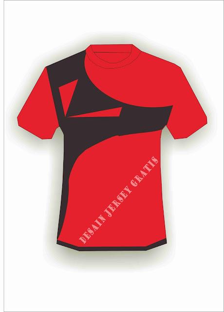 Desain Jersey Gratis Sepakbola dan futsal merah hitam