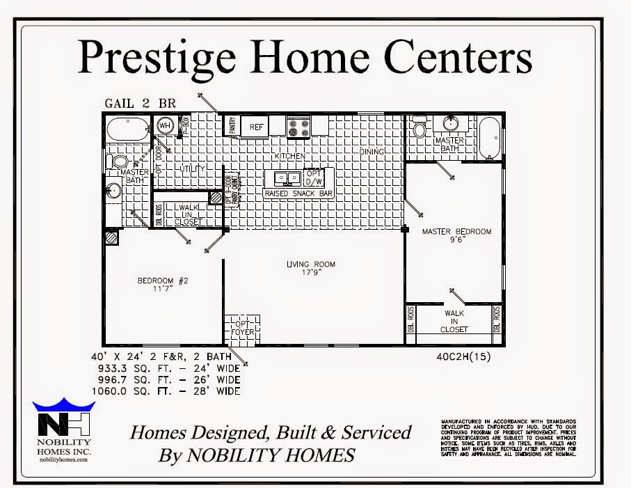 Prestige home centers manufactured homes mobile homes for 2 bedroom mobile home floor plans