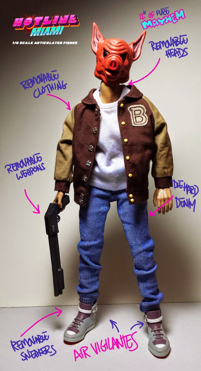 """Aubrey"" Jacket Hotline Miami 1/6 Scale Articulated Figure by Erick Scarecrow"