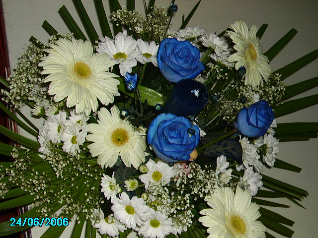 Truco centro floral azul