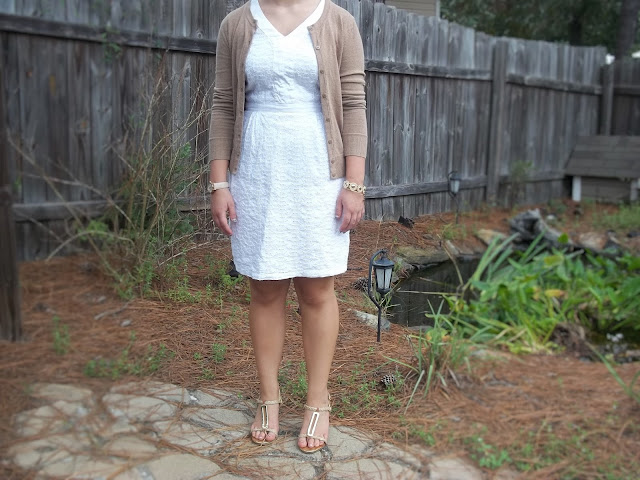 white after labor day fashion rules white eyelet dress tan cardigan gold watch gold bracelet gold wedges outfit outfit inspiration