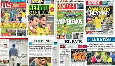 Primeras planas de los principales diarios españoles