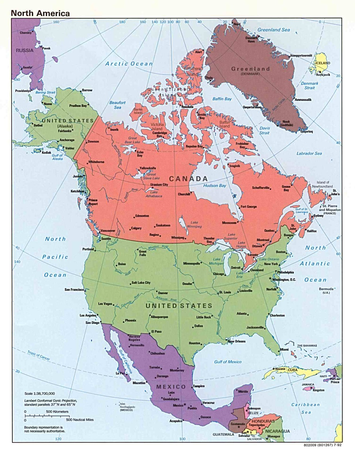 Maps Of North America And North American Countries Political - Map with latitude and longitude of north america