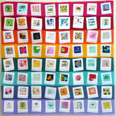 Rainbow polaroid quilt block