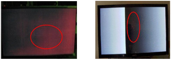 Areas rojizas o puntos rojos en la pantalla.