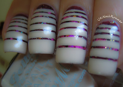 Tape design with Barry M Gelly Nail Paint in Lychee