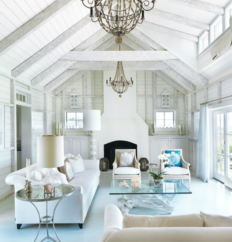 White Coastal Modern Living Room