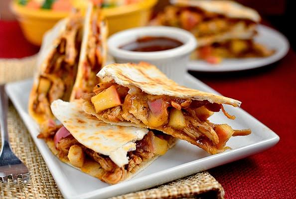 BBQ Chicken, Apple, Bacon and Cheddar Quesadillas