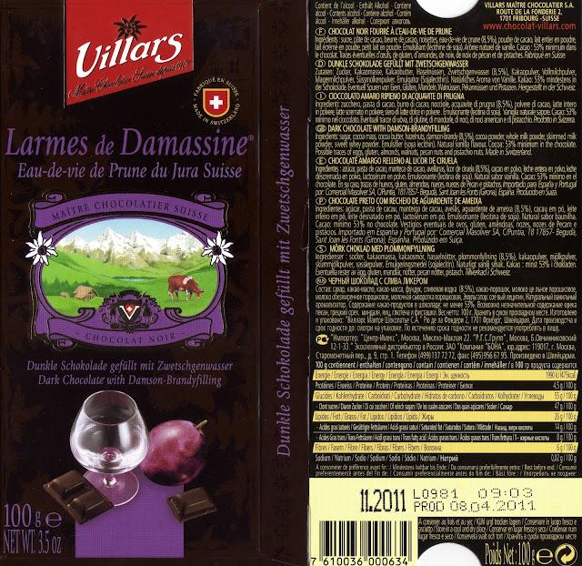 tablette de chocolat noir fourré villars noir larmes de damassine