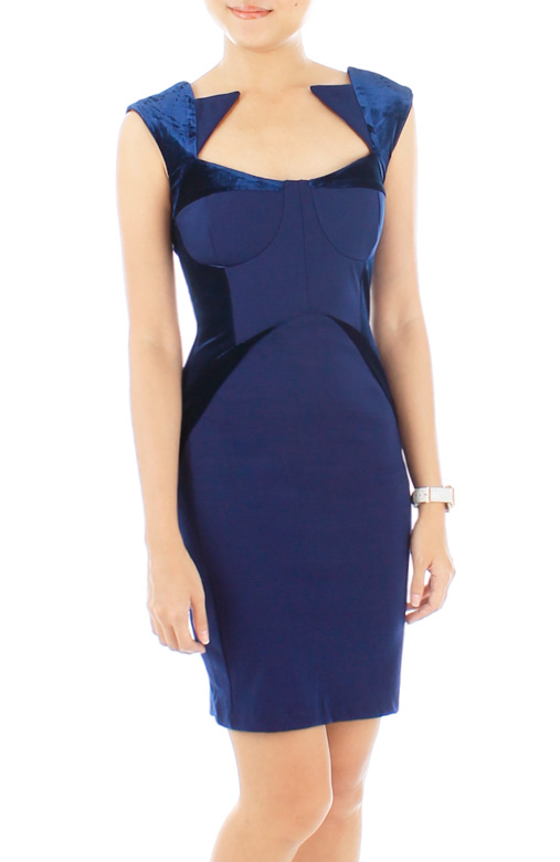 Sartorial Velvet Evening Dress – Monaco Blue