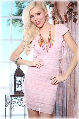 DUST PINK FLORAL LACE SCOOPNECK RUFFLED SLEEVE MINI DRESS