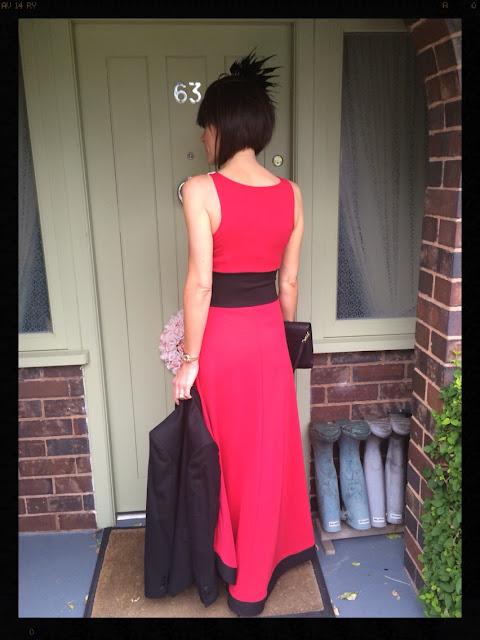 My Midlife Fashion wedding guest maxi dress bon prix dipped hem dress by Rainbow Zara Accessorise Blazer Tuxedo
