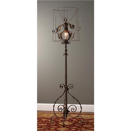 Restoring style rs industrial chic lighting for Metal scroll floor lamp