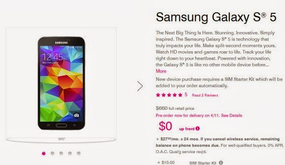 T-Mobile US pre-order suffer for the Galaxy S5 is now alive