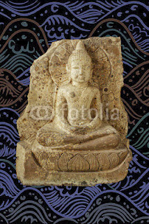 Buddha image isolated on Thai pattern