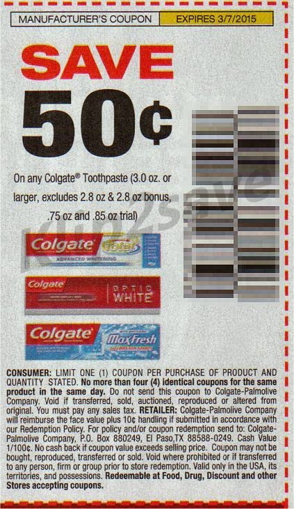Various Colgate coupons when you join the otpirise.cf email list Expires Dec. 31, If you're interested in tending to your pearly whites on a budget, join the promotional email program at Colgate so you can save on their dental care products.
