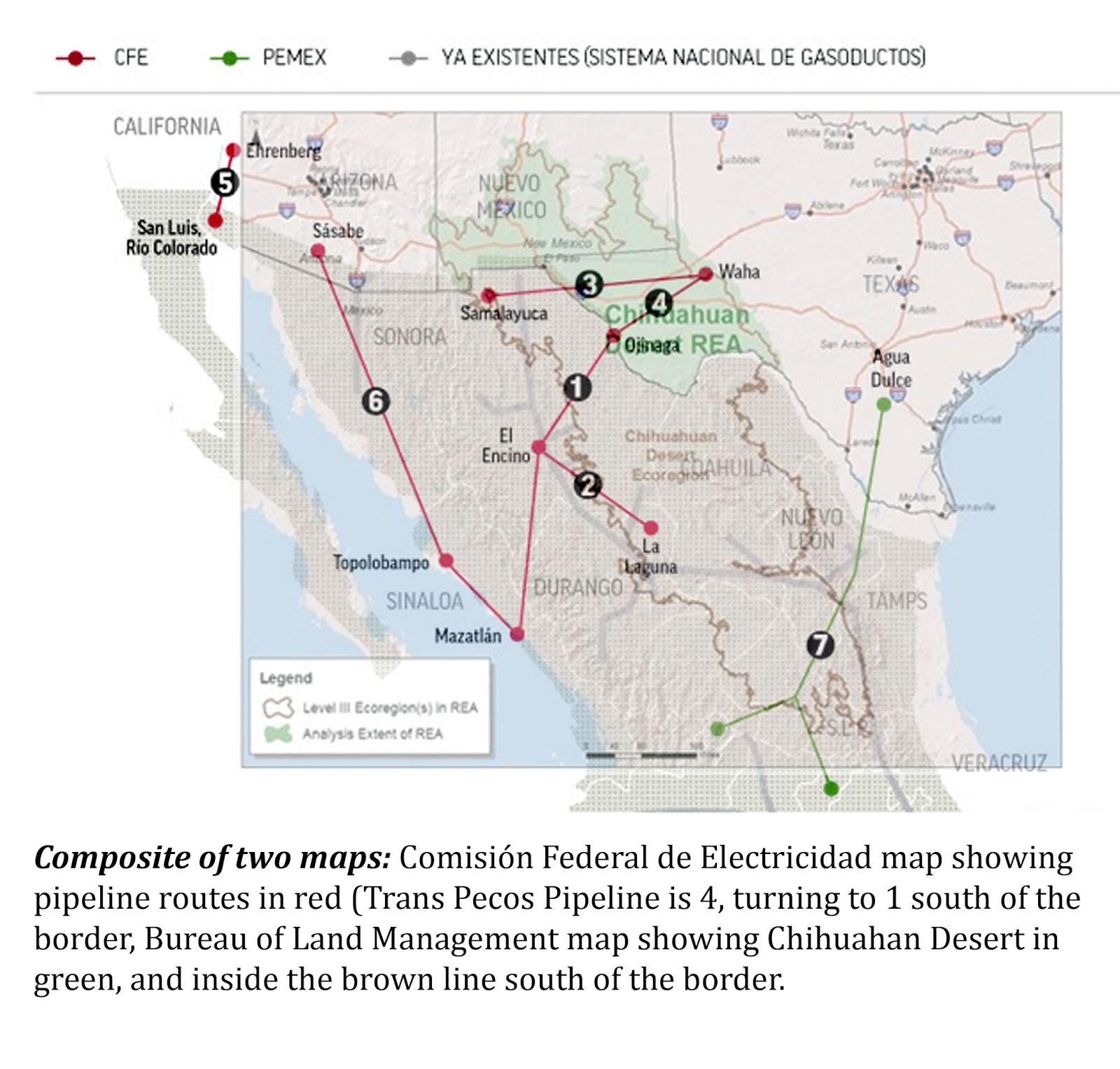 the following map is a composite made by overlaying a comision federal de electricidad cfe map of the pipeline with a bureau of land management blm