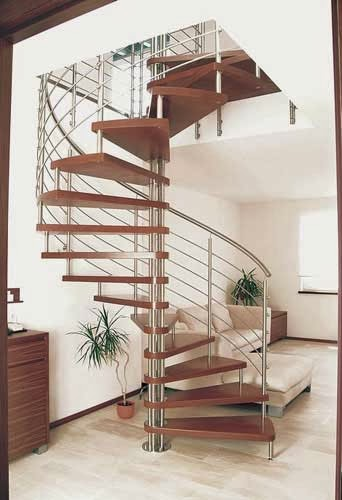 wood spiral stairs with stainless steel railings