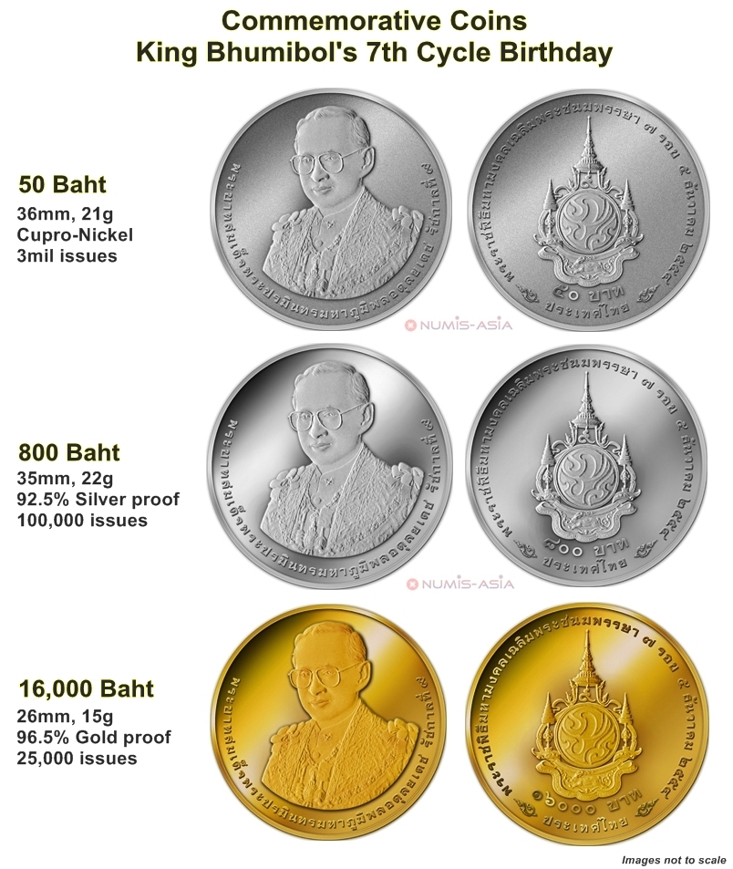 Thailand King Bhumibol 7th Cycle 84 years birthday coins