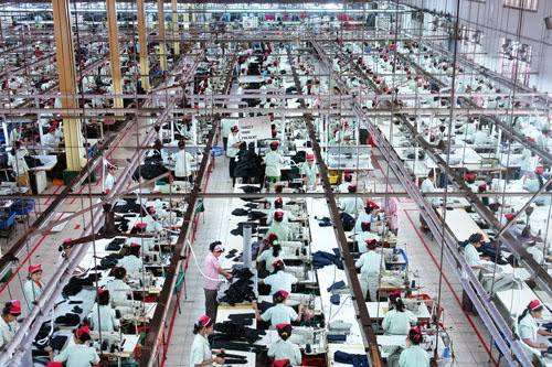 Working space of a garment industry