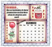 Calendário Dezembro com Mensagem Natalina pra
