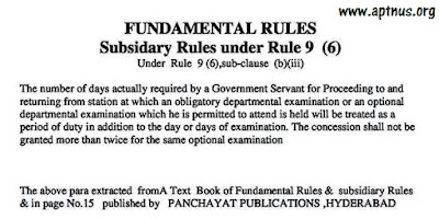 On Duty Facility as per FR 9(6) subclause(b)(iii) to attend  APPSC DepartmentalTests