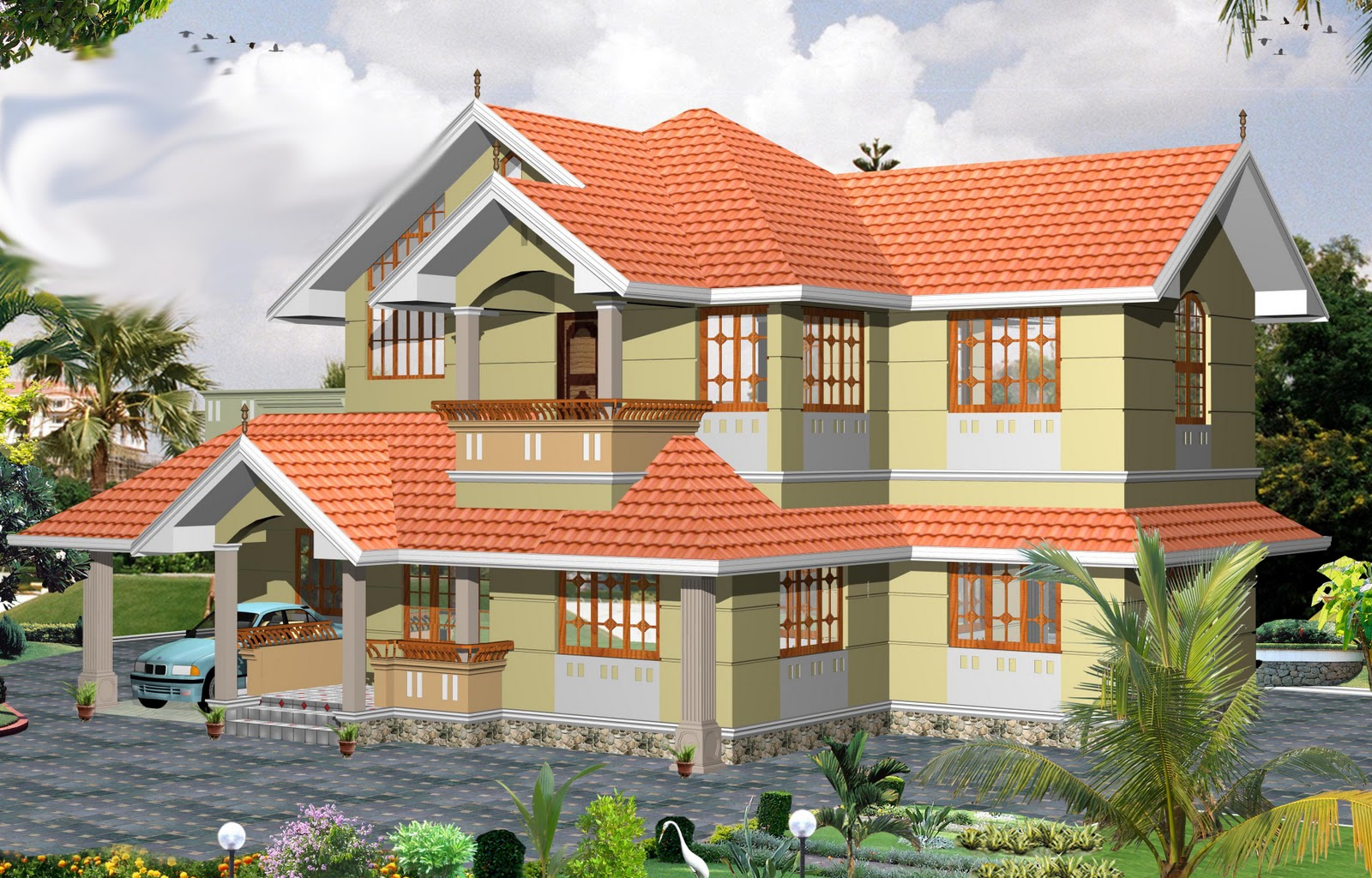 Kerala building construction 2000 sqft 3bhk house plan for Kerala houses designs