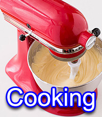 Cooking: Image of a food mixer with the text Cooking underneath.