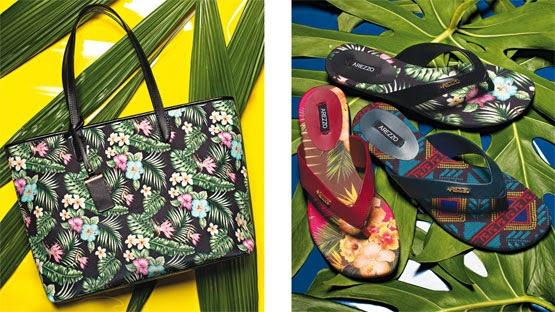 Arezzo coleção para Mundial Brasil bolsa shopping estampada rasteiras de couro