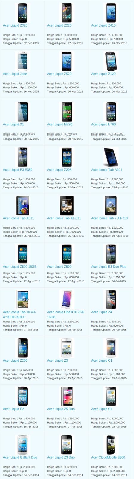 Daftar Harga Hp Acer Desember 2015
