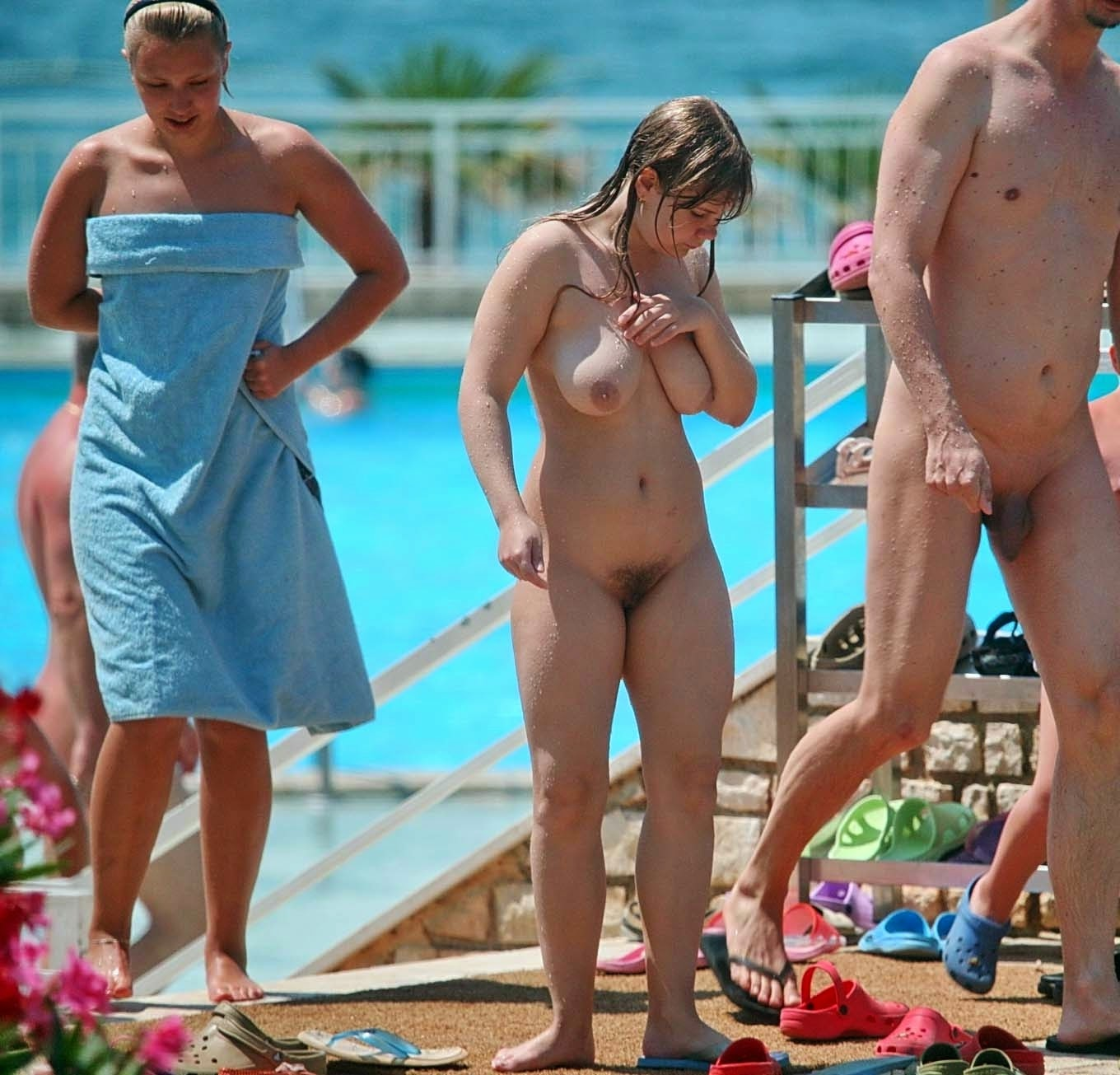 Labour. Without Nudist camp nude