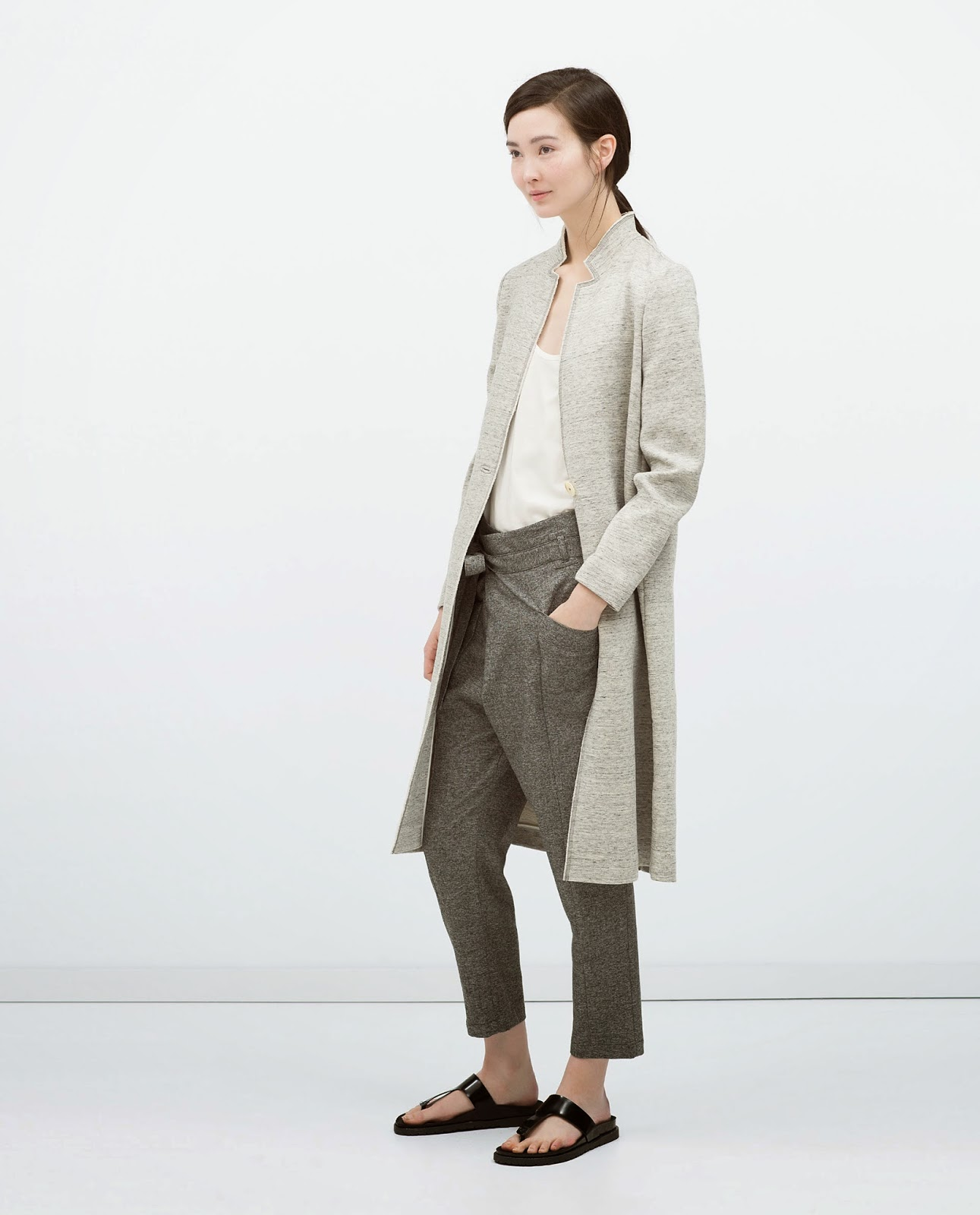 zara long grey jacket,