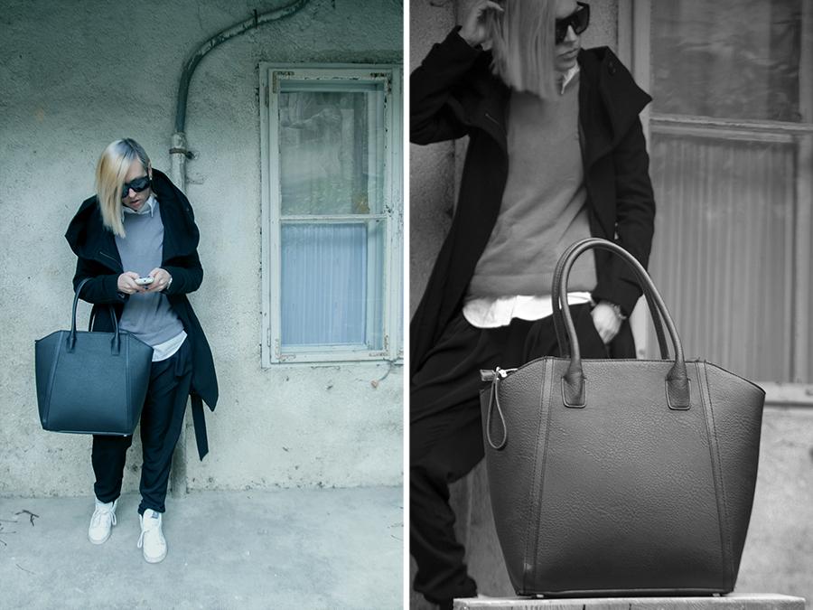 For Peet's Sake blog grey sweater black harem pants zara coat H&M bag white high top sneakers