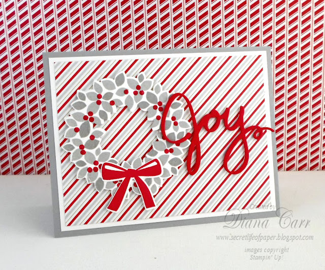 Stampin' Up Wonrous Wreath Christmas Card - www.secretlifeofpaper.com