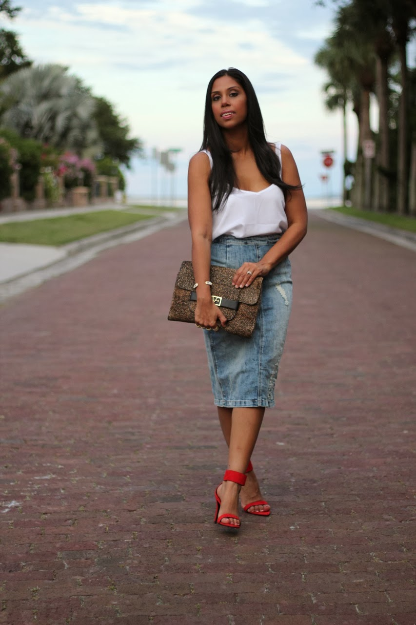 Distressed Denim Skirt with red anke strap heels from zara and leopard dvf clutch