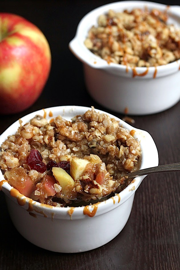 Five-Minute Single Serving Apple, Cranberry & Caramel Crisp | Savor Home