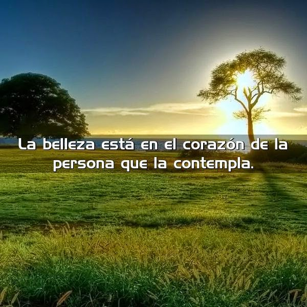 La belleza está en el corazón de la persona que la contempla.
