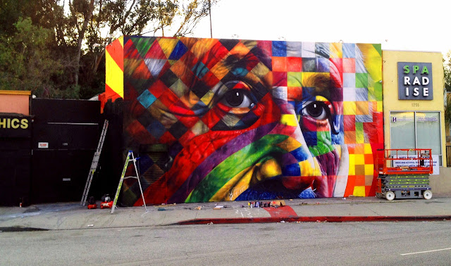 Street Art Portrait Of Einstein By Eduardo Kobra In Los Angeles, USA. 5