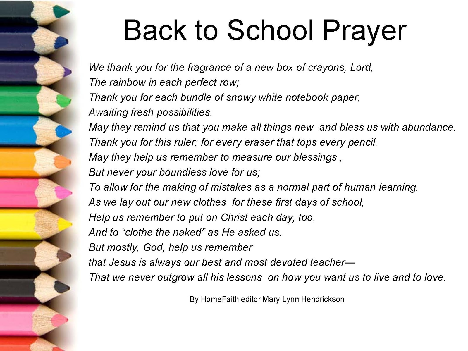 prayer in school The internet's best and most definitive collection of free christian and catholic prayers for teachers, students, schools, and classrooms.