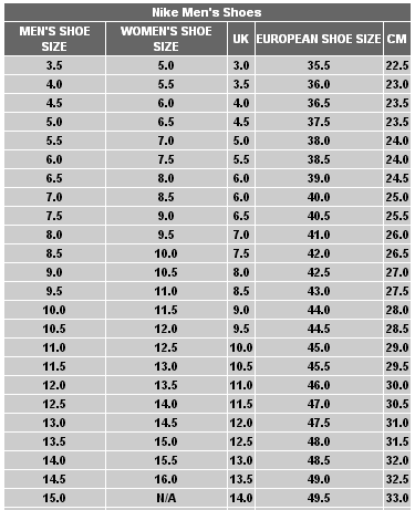 Nike Women Shoe Size Nike Mens To Womens Shoe Size Conversion Chart