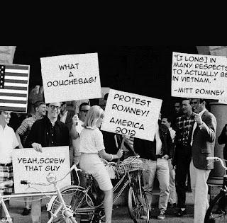 Mitt Romney, Pro-war, deferment, douche,