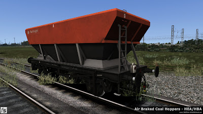Fastline Simulation - HBA/HEA Coal Hoppers: An HEA hopper with offset ladder in Railfreight flame red and grey livery with an original pattern battery flashing tail lamp.
