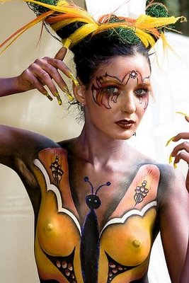 body paint his body like a butterfly girl