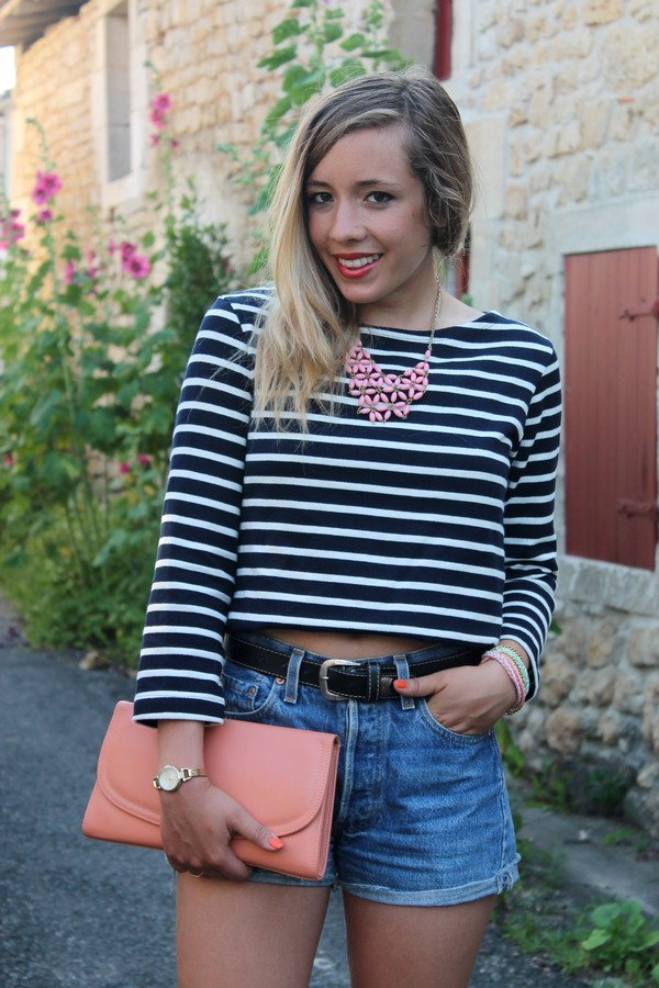 Top rayé short en jean